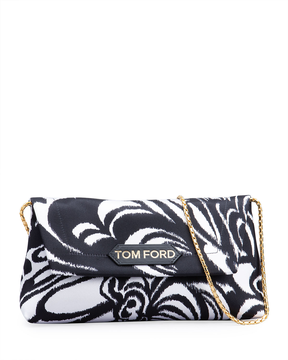 Tom Ford LABEL SMALL ABSTRACT-PRINT SATIN SHOULDER BAG