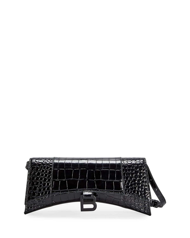 Balenciaga Shoulder bags HOURGLASS SLING MOCK-CROC LEATHER SLING SHOULDER BAG