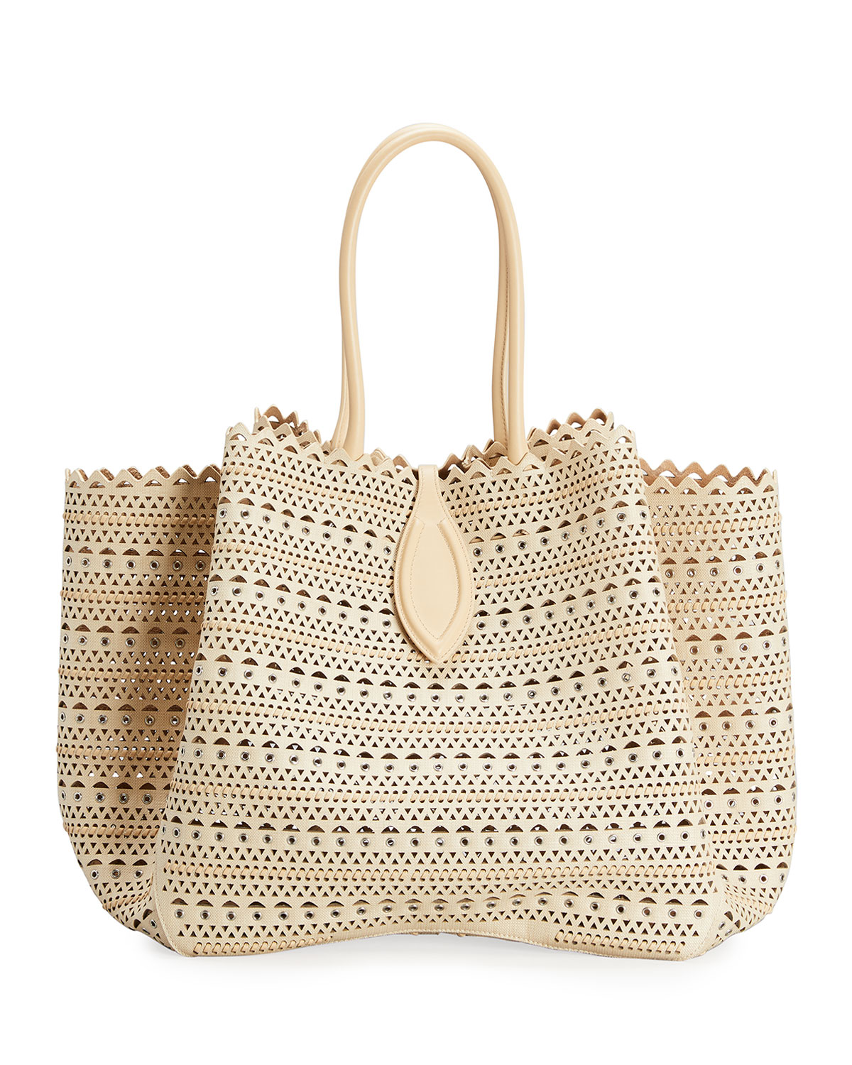 Alaïa ANGELE 32 CUTOUT RAFFIA AND CALF LEATHER TOP-HANDLE BAG