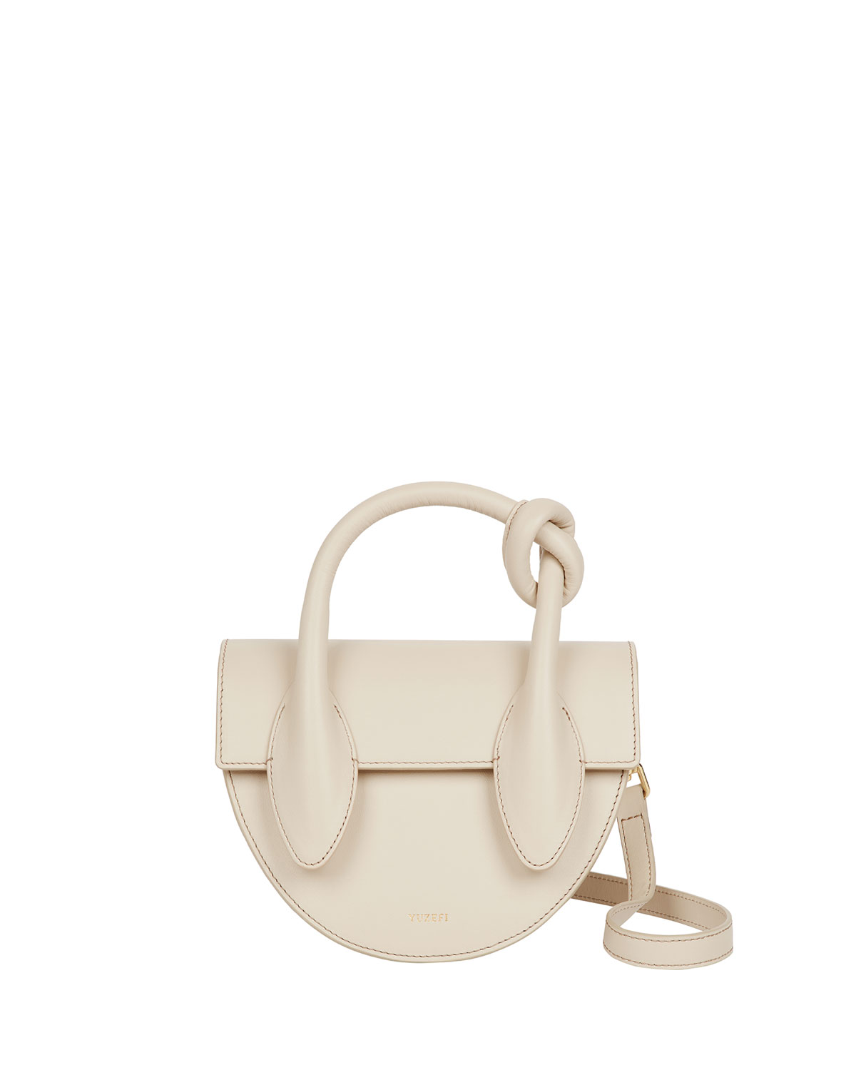 Yuzefi DOLORES LEATHER KNOT TOP-HANDLE BAG, OATMEAL