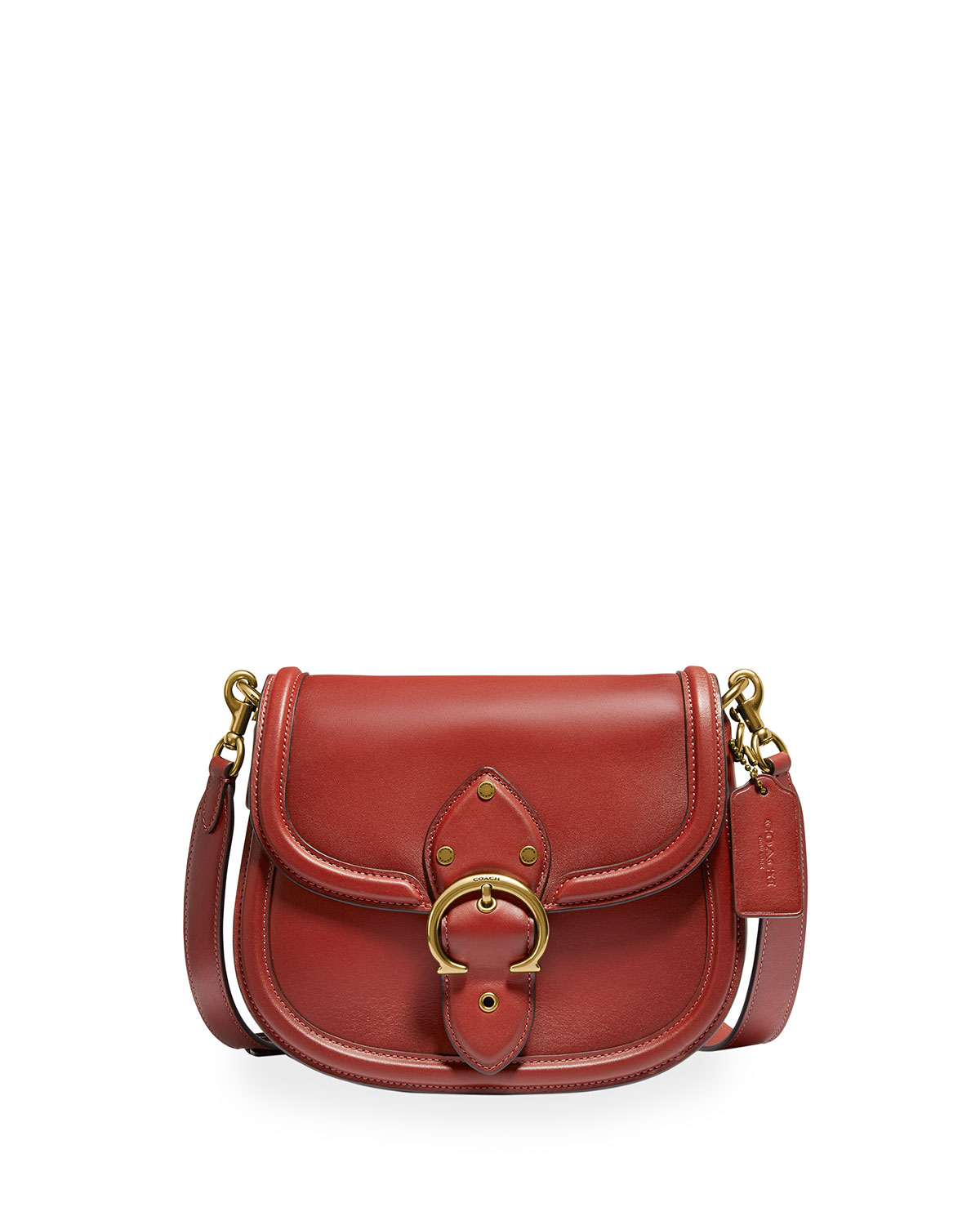 Coach Beat Glovetanned Leather Saddle Crossbody Bag In Red Sand