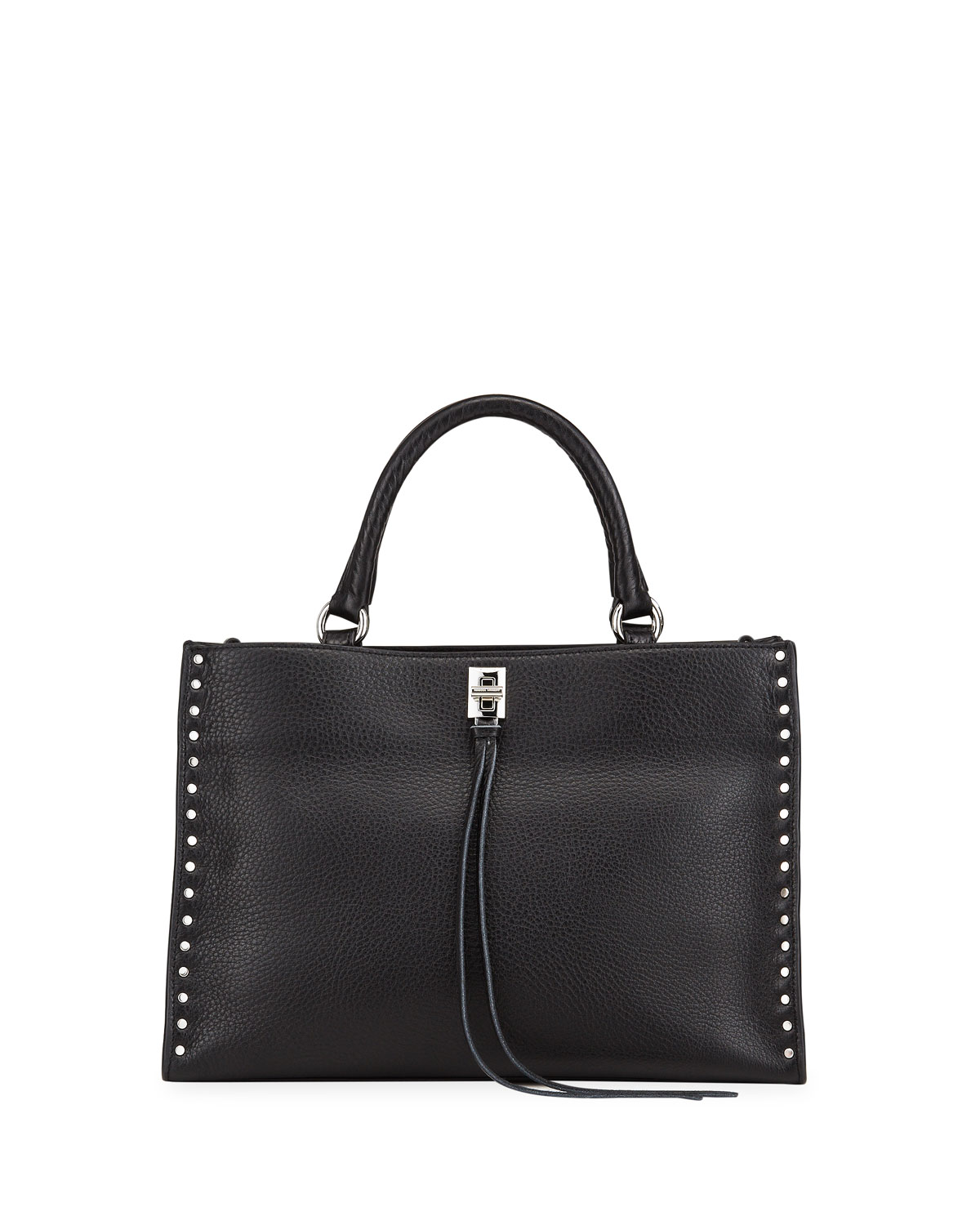 Rebecca Minkoff DARREN STUDDED PEBBLED LEATHER SATCHEL TOTE BAG