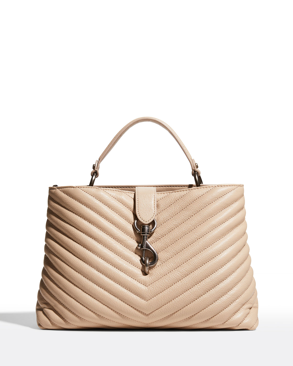 Rebecca Minkoff EDIE QUILTED LARGE TOP-HANDLE TOTE BAG, CASHMERE