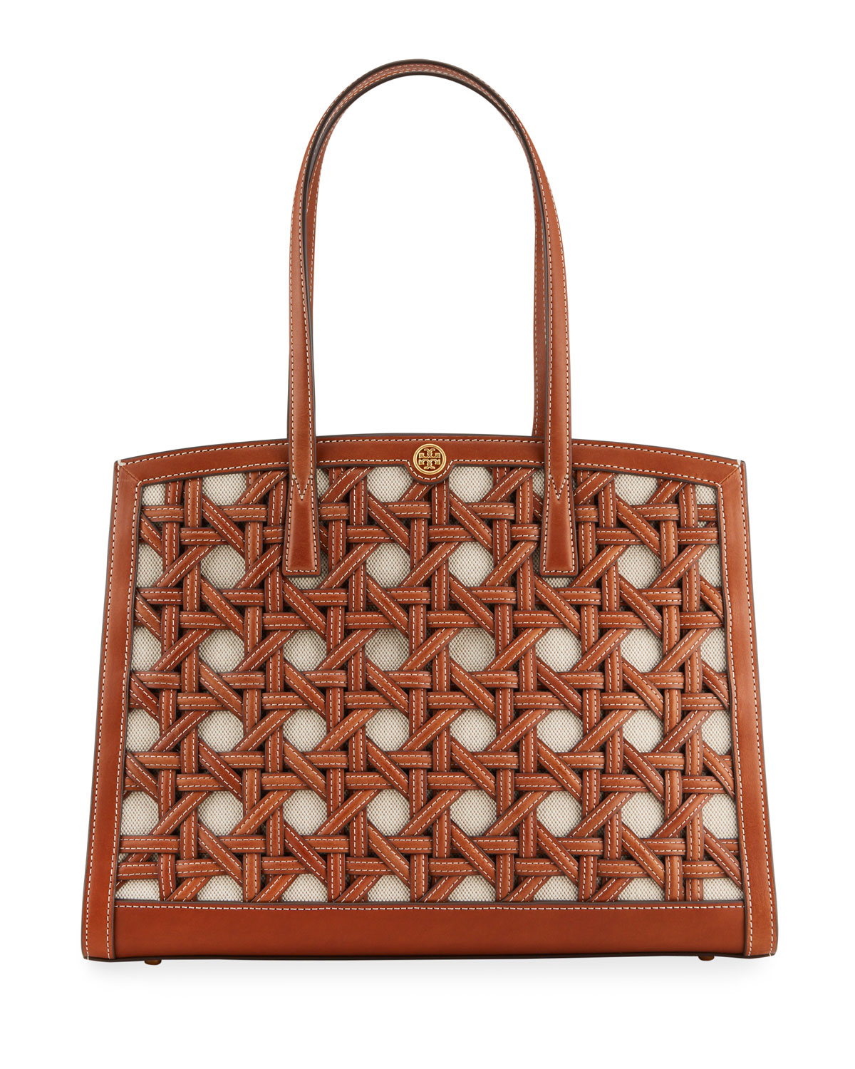 Tory Burch WALKER BASKETWEAVE TOTE SATCHEL BAG