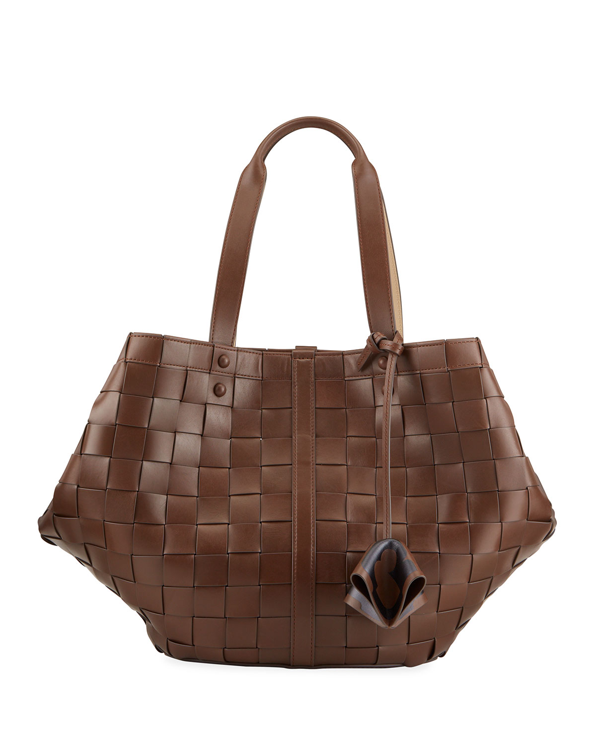 Tory Burch SETE WOVEN LEATHER TOTE BAG, COLD BREW