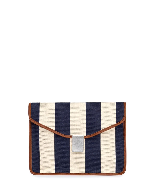 Caterina Striped Canvas Clutch Bag