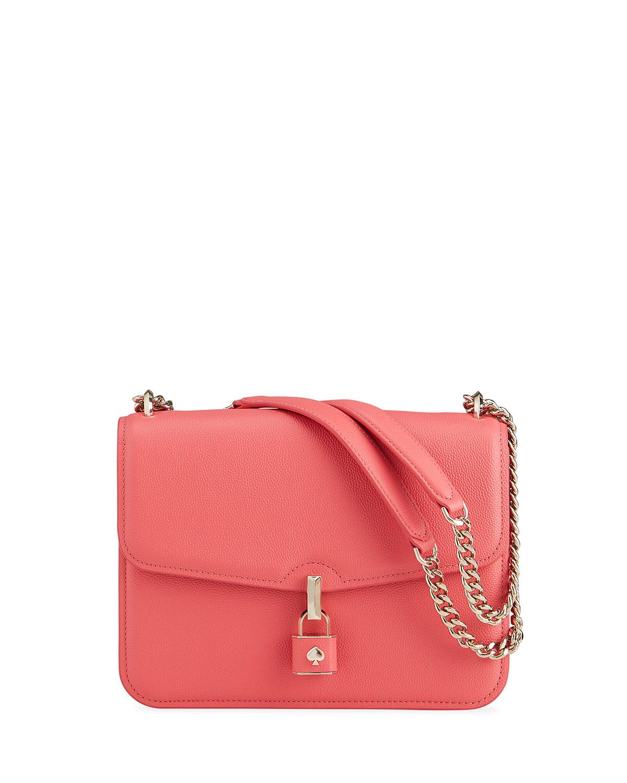 Kate Spade Locket Large Pebble Leather Shoulder Bag In Peach Melba