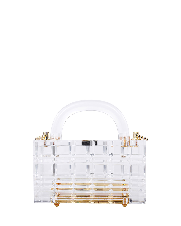 Grace Mini Textured Clear Top-Handle Bag w/ Chain