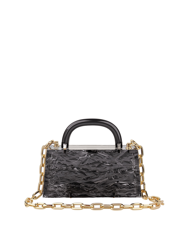 Eva Crinkled Transparent Acrylic Top-Handle Bag