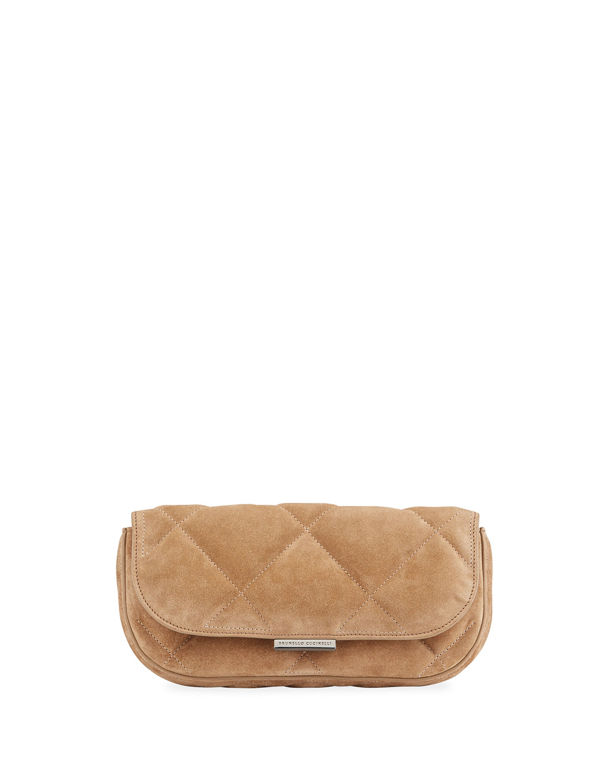 Quilted Suede East-West Clutch Bag w/ Monili Strap