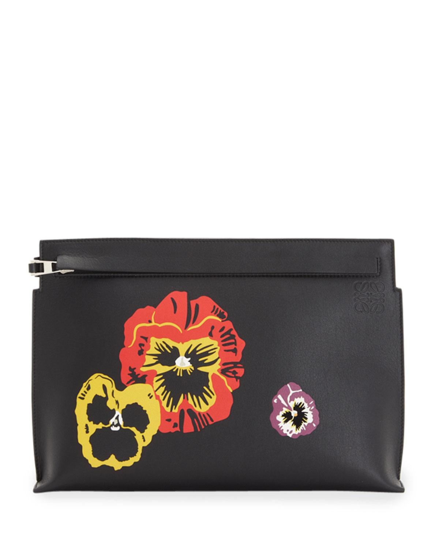 Pansies Zip Clutch Bag