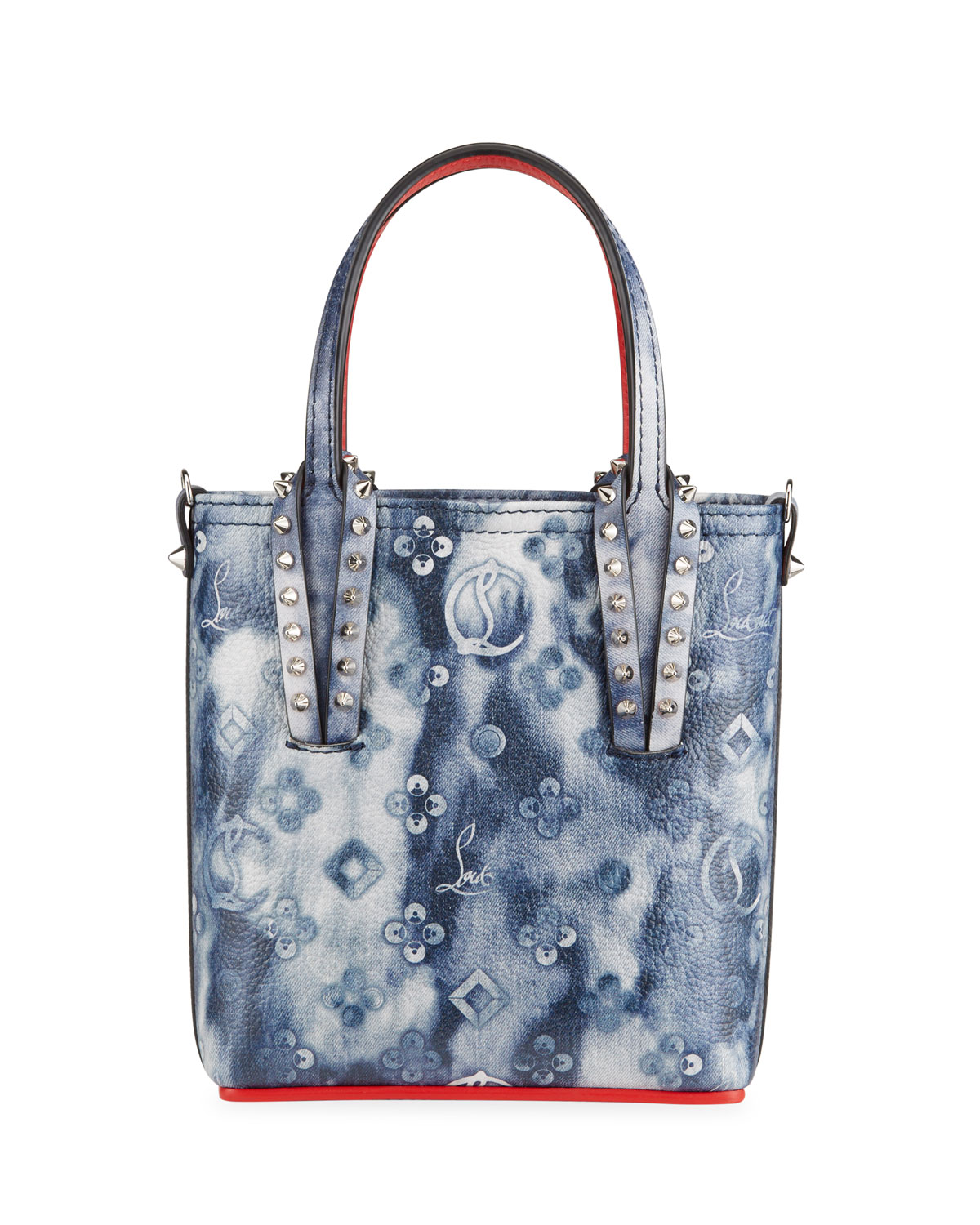 Christian Louboutin CABATA TIE-DYE NORTH-SOUTH MINI CROSSBODY BAG W/ EMPIRE PUNK SPIKES