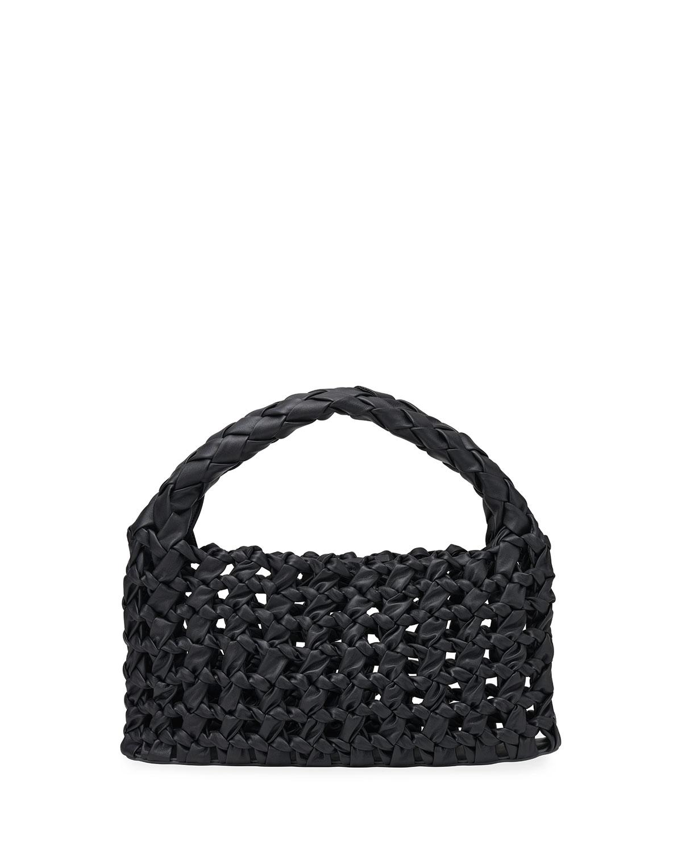 Lola Woven Leather Top-Handle Bag