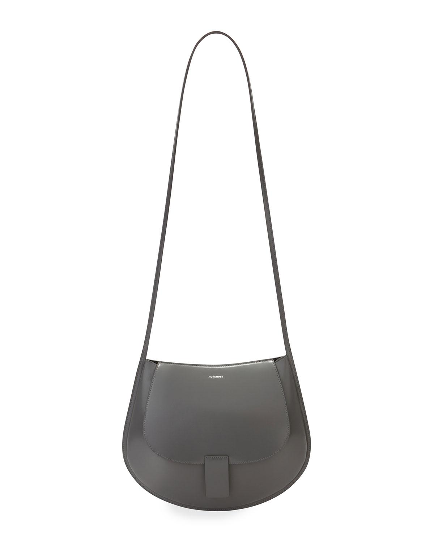 Crescent Leather Flap Crossbody Bag