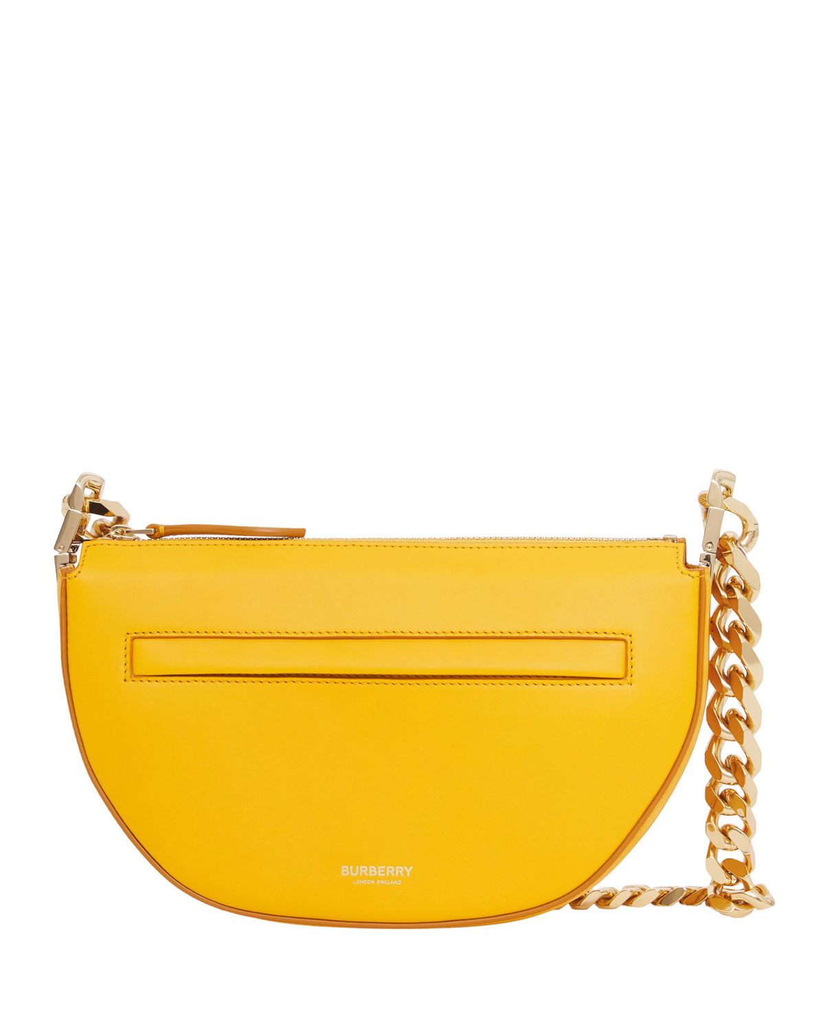 Olympia Zip-Top Leather Chain Shoulder Bag, Marigold