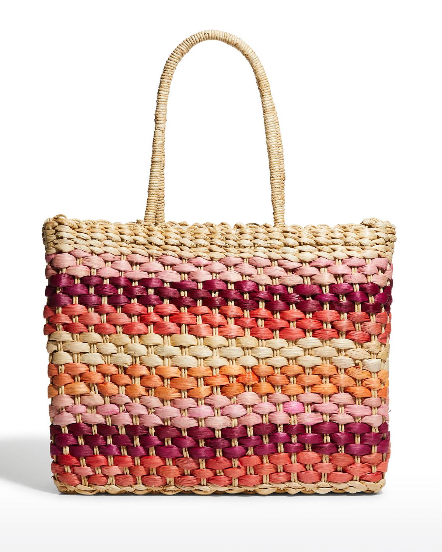 Sandy Multicolor Straw Beach Tote Bag