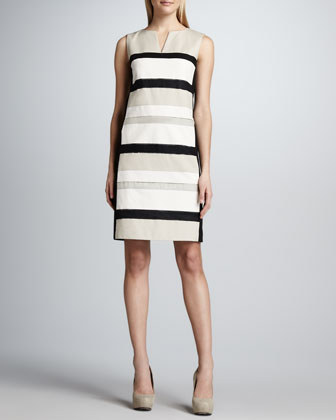 Noel Split-Neck Striped Dress
