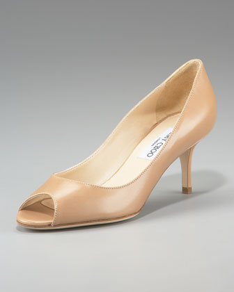 Gilbert Peep-Toe Leather Pump
