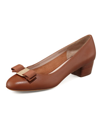 Vara Bow Low-Heel Pump, Tan