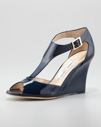 Token Patent T-Strap Wedge Sandal, Navy