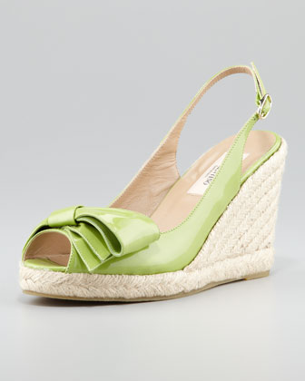 Patent Leather Bow Espadrille Wedge, Apple