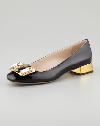 Jewel-Buckle Patent Leather Pump