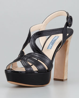 Butterfly Strappy Sandal, Black