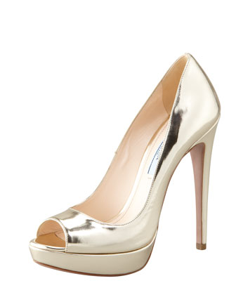 Metallic Peep-Toe Pump, Gold