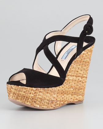Suede Crisscross Wicker Wedge Sandal, Black