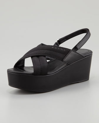 Grosgrain Crossover Wedge Sandal, Black