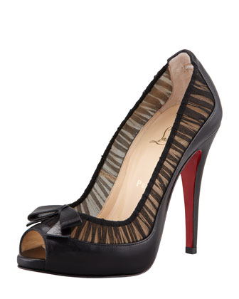 Angelique Leather/Chiffon Peep-Toe Red Sole Pump, Black
