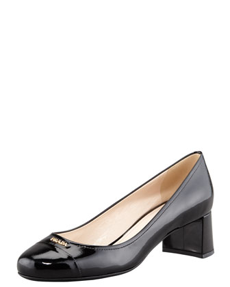 Patent Cap-Toe Leather Pump Black