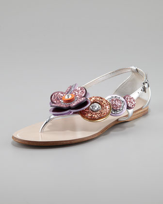 Glittered Flower Thong Sandal