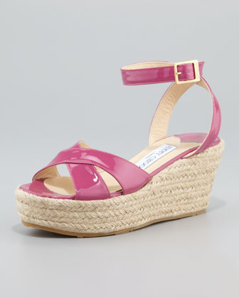 Pepper Patent Leather Espadrille Wedge Sandal, Pink