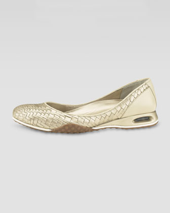Air Bria Woven Ballerina Flat, Soft Gold