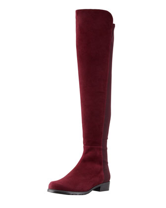 Suede To-the-Knee Boot, Bordeaux
