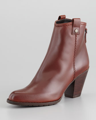 Hipgal Leather Zip Bootie