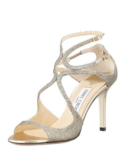 Ivette Glitter Fabric Crisscross Sandal