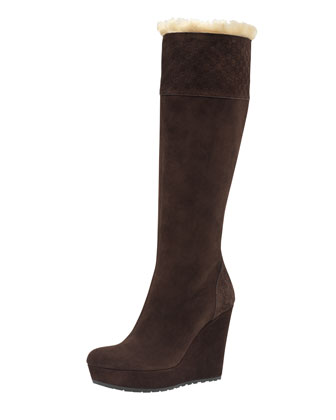 Courteney Fur Suede Wedge Boot, Dark Brown