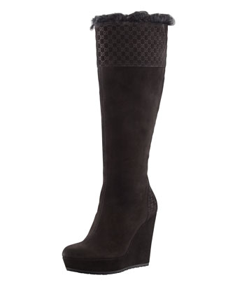 Courteney Fur Suede Wedge Boot, Black