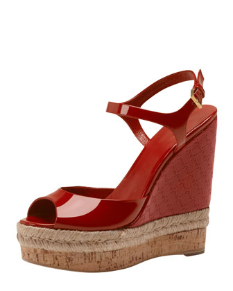 Holli Patent GG Wedge Espadrille, Red