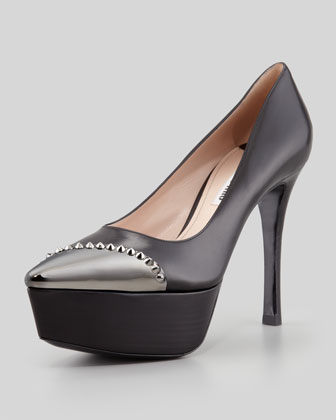 Metal Cap-Toe Platform Pump, Black