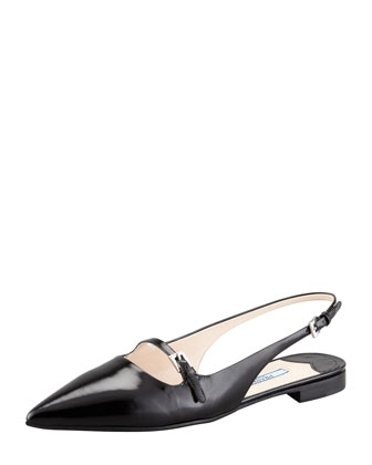 Leather Mary-Jane Slingback Flat