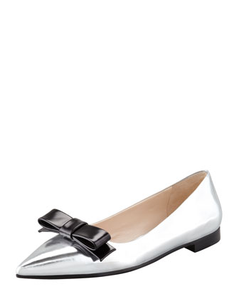 Metallic Pointed-Toe Flat, Silver/Black