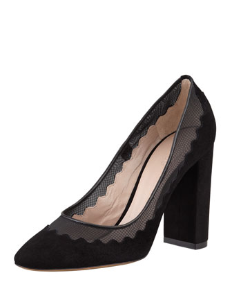 Suede Scalloped Pump, Black