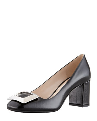 Vernice Saffiano Buckled Block-Heel Pump