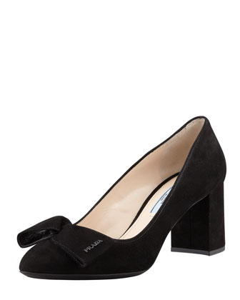 Suede Block-Heel Bow Pump, Black