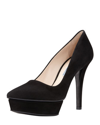Suede Pointed-Toe Island Platform Pump, Black