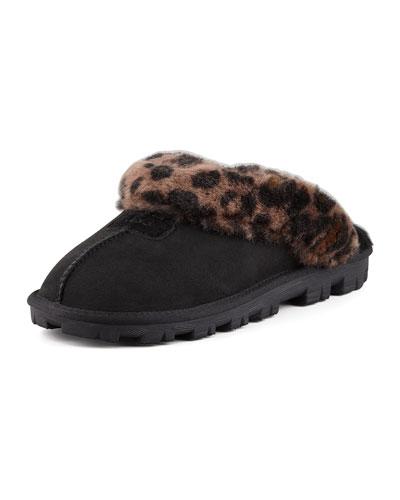 Leopard-Print Mule Shearling Slipper, Black