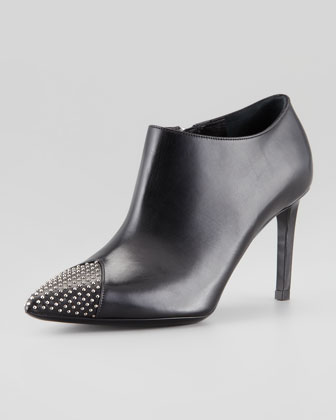 Studded Point-Toe Ankle Bootie